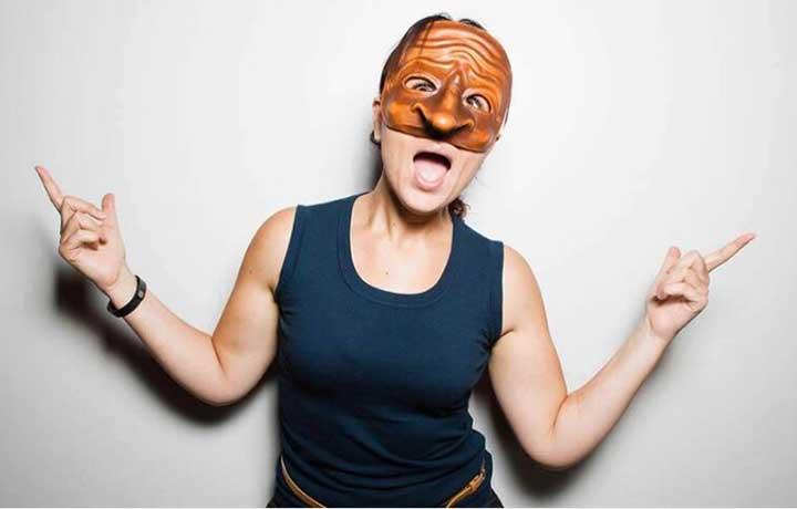 Corinna Di Niro, actor, wearing Commedia dell'Arte mask