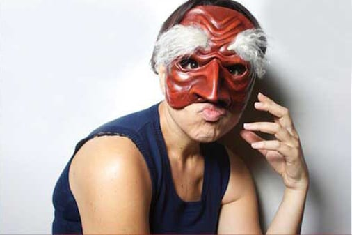 Corinna Di Niro, actor, wearing Commedia dell'Arte mask