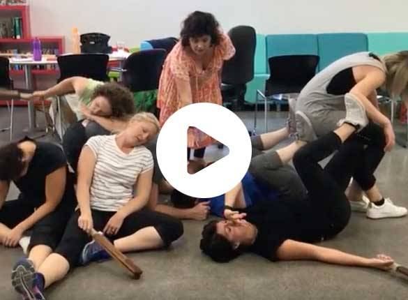 Commedia dell'Arte training with Corinna Di Niro Zanni sleep machine